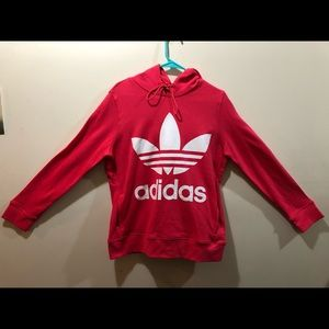 Adidas Hoodie, Pink & White, Medium
